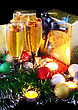Christmas And New Year Decoration- Balls, Tinsel, Candel And Glasses Of Champagne .On Black Background stock image