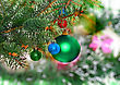 Christmas And New Year Decoration- Glass Balls, Green Tinsel . Close-Up. On White Background, Isolated