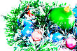 Christmas And New Year Decoration- Glass Balls, Green Tinsel . Close-Up. On White Background, Isolated stock image