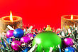 Christmas And New Year Decoration-balls And Candels On Red Background stock photography