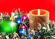 Christmas And New Year Decoration-balls And Candels On Red Background