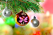 Christmas And New Year Decoration-balls On Fir Tree stock image