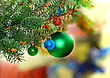 Fancy Christmas And New Year Decoration-balls On Fir Tree stock photo