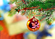 Fire Christmas And New Year Decoration-balls On Fir Tree stock photography