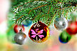 Yule Christmas And New Year Decoration-balls On Fir Tree stock image