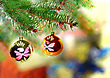 Fancy Christmas And New Year Decoration-balls On Fir Tree stock image
