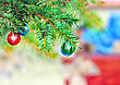 Wax Christmas And New Year Decoration-balls On Fir Tree stock photography