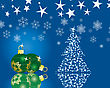 Christmas (New Year) Fir-tree With Stars. Vector Background