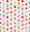 Christmas And New Year Seamless Background Pattern With Traditional Xmas Element - Vector