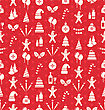 Christmas And New Year Seamless Background Pattern With Traditional Xmas Element - Vector stock illustration