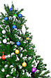 Christmas And New Year Tree. Isolated Over White stock photography