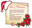 Christmas Paper Background With Poinseyyia And Santa Hat.Vector Card For Text stock image