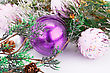 Firttree Christmas Pink Balls And Fir Tree On Gray Background stock photo