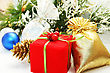 Christmas Present Boxes On Grey Background. stock photo