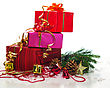 Christmas Presents With Evergreen Branches stock photo