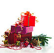 Christmas Presents With Evergreen Branches stock image