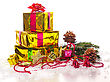 Advent Christmas Presents With Evergreen Branches stock image