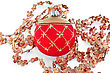 Christmas Red Ball With Golden Ornaments, Shiny Christmas Tree Pendants In The Shape Of Flowers stock image