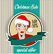 Christmas Sale Design With Sexy Santa Girl, Illustration In Vector Format