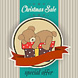 Christmas Sale Design With Teddy Bear, Illustration In Vector Format