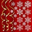 Christmas set of golden ribbons and snowflakes on red background