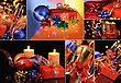 Christmas Set Of Photos Is With Champagne, Candles And Decorations stock photography