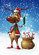 Christmas Smiling Deer With Branch And Bag With Gifts Illustration stock illustration
