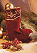 Christmas Stocking & Decorations stock image
