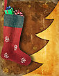 Christmas Stocking With Gifts On Winter Background stock image