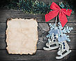 Hanging Christmas Toys And Old Paper The On Wooden Background stock photography