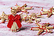 Wreath Christmas Toys Of Straw On Wooden Background stock photo