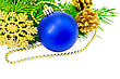 Christmas Tree Blue Ball, Golden Cones, Snowflakes And Beads, Green Fir Branches stock image