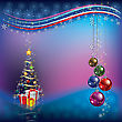Christmas Tree With Decoration And Gifts On Dark Blue Background