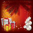 Christmas Tree With Gifts And Balls On Red Background