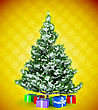 Christmas Tree With Gifts Over Yellow Snowflake Textured Background
