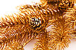 Congratulation Christmas Tree Golden Branch With Cone Closeup Image stock photography