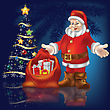 Christmas Tree With Santa Claus And Gifts On Blue Background