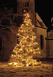 Lighted Christmas Tree with Lights stock photo