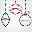 Christmas Vector Set Of Fir Tree And Evening Balls, New Year S Clock And Festive Bells
