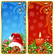 Christmas vertical banners set 2. Santa hat and candle