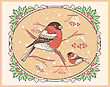 Christmas Vintage Card With Bullfinches And Snow.Vector Background