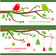 Christmas Vintage Greeting Card. Vector Illustration With Cute Birds Couple On The Holly Berry Tree Branch In Retro Colors