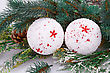 Christmas White Balls, Cones And Fir-tree Branch On Gray Background stock photo
