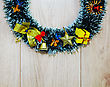 Christmas Wreath Over Wooden Background stock photography