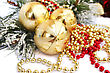 Christmas Yellow Balls And Garlands On White Background.