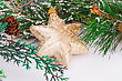 Christmas Yellow Star And Fir Tree On Gray Background stock photo