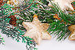 Christmas Yellow Stars And Fir Tree On Gray Background