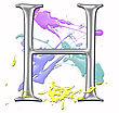 Chrome Alphabet Numbers And Symbols With Pastel Paint Splatters On The Background