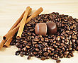 Cinnamon Sticks ,coffee Beans And Candy , Close Up stock image
