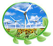 Circle Of Green Leaves That Surround Multiple Wind Turbines Online On Cloudy Sky Background In A Field Of Sunflowers